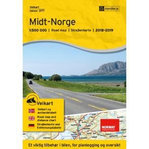 Wegenkaart-Straßenkart-Roadmap-Veikart Midt-Norge 1:500.000 2018-2019