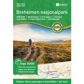 Wandelkaart Topo 3000 Breheimen nasjonalpark 1:50.000 (2017)