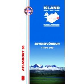 IJslandkaart 30 Atlaskort: Seyðisfjörður 1:100.000