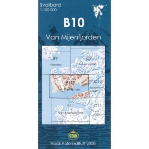 Topografische Kaart Spitsbergen B10 Van Mijenfjorden 1:100.000