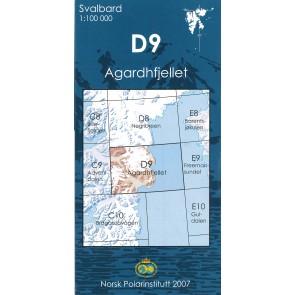 Topografische Kaart Spitsbergen D9 Agardhfjellet 1:100.000