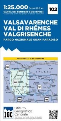 Wandelkaart Italiaanse Alpen Blad 102 - Valsavarenche 1:25.000