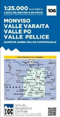 Wandelkaart Italiaanse Alpen Blad 106 - Monviso 1:25.000