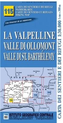 Wandelkaart Italiaanse Alpen Blad 115 - La Valpelline 1:25.000