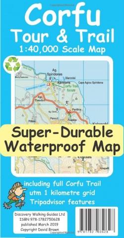 Wandelkaart Corfu Tour & Trail 1:40.000