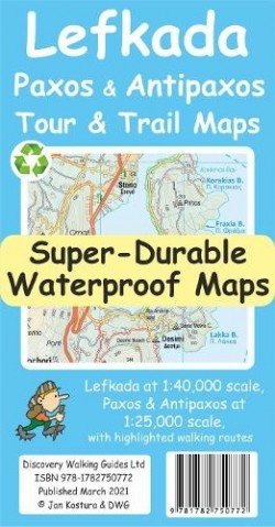 Wandelkaart Discovery Lefkada, Paxos & Antipaxos Tour & Trail Super Durable Maps