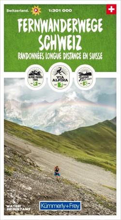 Fernwanderwege Schweiz 1:301 000  Randonnées longue distance en Suisse
