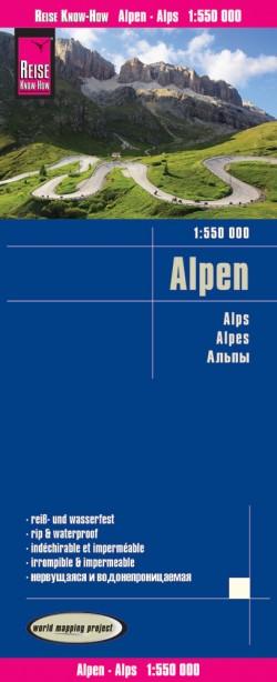 Wegenkaart Alpen 1:550.000  2.A 2017
