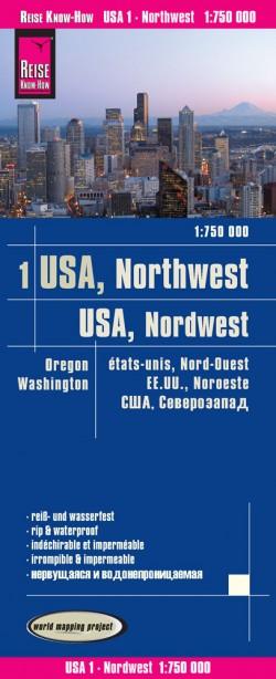 Wegenkaart USA-1 Northwest/Nordwesten 1:750.000 3.A 2017