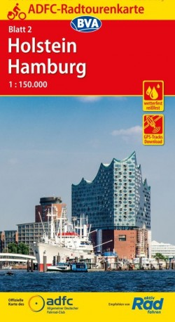 Fietskaart ADFC Radtourenkarte 2 Holstein - Hamburg 1:150.000 (2018)