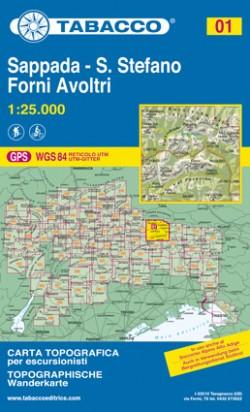 Wandelkaart Dolomiten Blad 01 - Sappada- S. Stefano Forni Avoltri (GPS)