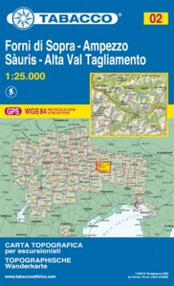 Wandelkaart Dolomiten Blad 02 - Forni di Sopra - Ampezzo (GPS)