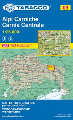 Wandelkaart Dolomiten Blad 09 - Alpi Carnische / Carnia Centrale (GPS)