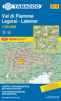 Wandelkaart Dolomiten Blad 014 - Val di Fiemme (GPS)