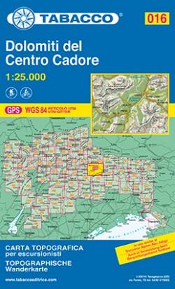 Wandelkaart Dolomiten Blad 016 - Dolomiti del Centro Cadore (GPS) 2015
