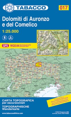 Wandelkaart Dolomiten Blad 017 - Dolomiti di Auronzo e del Comelico (2018)