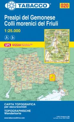 Wandelkaart Tabacco Blad 020 - Prealpi del Gemonese / Colli morenici del Friuli (GPS)