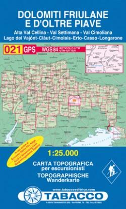 Wandelkaart Dolomiten Blad 021 - Dolomiti Friulane e D'Oltre Piave (GPS)