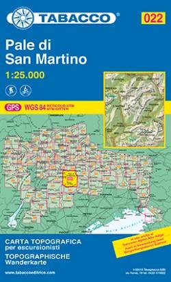 Wandelkaart Dolomiten Blad 022  - Pale di San Martino 1:25.000 (GPS) 2017
