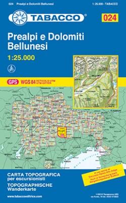Wandelkaart Dolomiten Blad 024 - Prealpi e Dolomiti Bellunesi (GPS) 2017