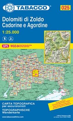 Wandelkaart Dolomiten Blad 025 - Dolomiti di Zoldo Cadorine e Agordine (GPS) 2016