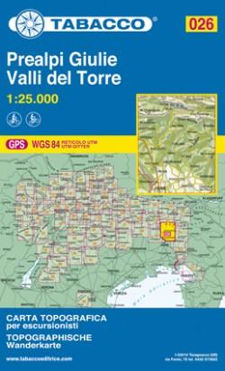 Wandelkaart Julische Alpen Blad 026 - Prealpi Giulie Valli del Torre (GPS)