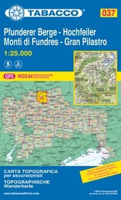 Wandelkaart Dolomiten Blad 037 - Pfunderer Berge-Hochfeiler / Monti di Fundres-Gran Pilastro (GPS)