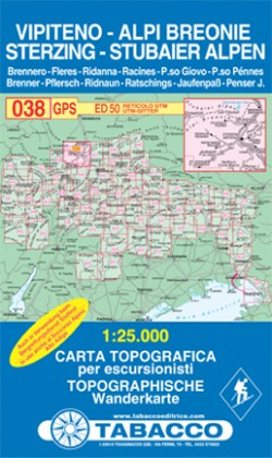 Wandelkaart Dolomiten Blad 038 - Sterzing-Stubaier Alpen / Vipiteno-Alpi Breonie (GPS) 2017