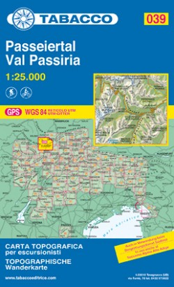 Wandelkaart Dolomiten Blad 039 - Passeiertal / Val Passiria  (GPS)