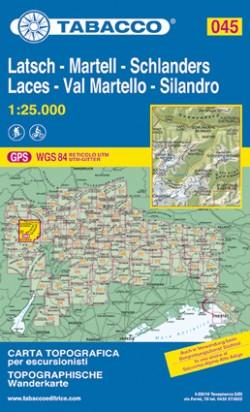 Wandelkaart Dolomiten Blad 045 Latsch-Martell-Schlanders / Laces-Val Martello-Silandro  (GPS)