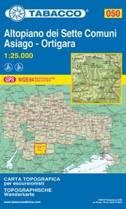Wandelkaart Tabacco Blad 050 Altopiano dei Sette Comuni / Asiago - Ortigara (GPS)