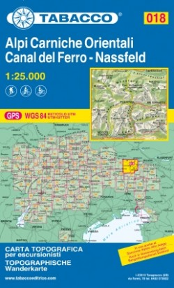 Wandelkaart Dolomiten Blad 018 - Alpi Carniche Orientali / Canal del Ferro 1:25.000 (GPS) 2018