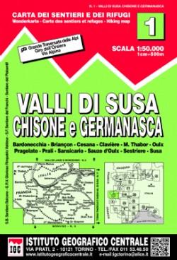Wandelkaart Italiaanse Alpen Blad 1 - Valle di Susa 1:50.000