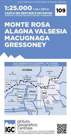 Wandelkaart Italiaanse Alpen Blad 109 - Monte Rosa 1:25.000
