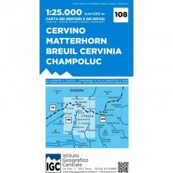 Wandelkaart Italiaanse Alpen Blad 108 - Cervino Matterhorn 1:25.000