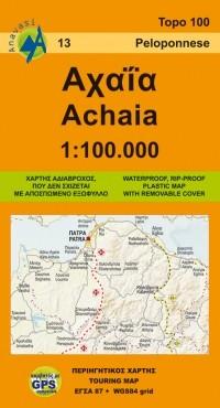 Wegenkaart Griekenland Topo 100 Achaia (Peloponnese, Peloponnesos) 1:100.000 (13)