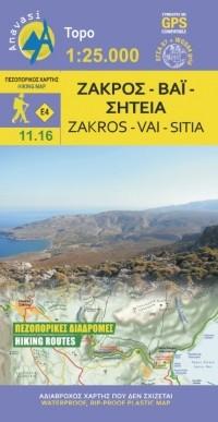 Wandelkaart Topo 25 Zakros-Vai-Sitia (Oost-Kreta)  11.16