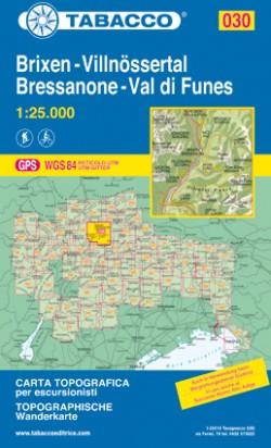Wandelkaart Dolomiten Blad 030 - Brixen-Villnössertal / Bressanone-Val di Funes (GPS) 2018