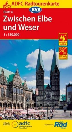 Fietskaart ADFC Radtourenkarte 6 Zwischen Elbe und Weser 1:150.000 (2018)