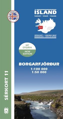 Wandelkaart/Sérkort 11: Borgarfjördur 1:100.000/1:50.000 Iceland