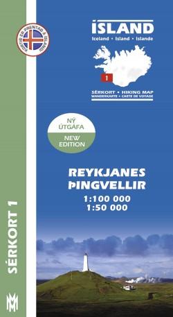 Wandelkaart/Sérkort 1: Reykjanes-Þingvellir 1:100.000/1:50.000 Iceland