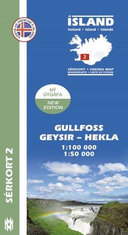 Wandelkaart/Sérkort 2: Gullfoss-Geysir-Hekla-Laki 1:100.000/1:50.000 Iceland