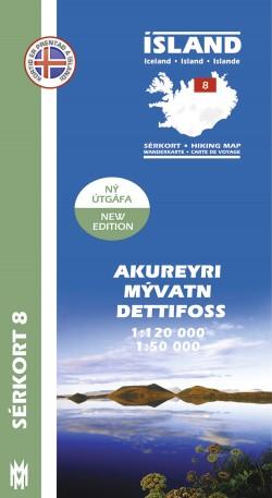 Wandelkaart/Sérkort 8: Akureyri - Myvatn - Dettifoss 1:120.000/1:50.000 Iceland