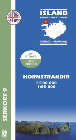 Wandelkaart/Sérkort 9: Hornstrandir 1:100.000/1:55.000 Iceland