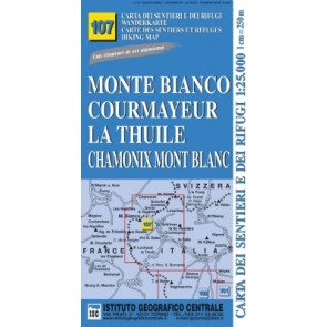 Wandelkaart Italiaanse Alpen Blad 107 - Monte Bianco 1:25.000