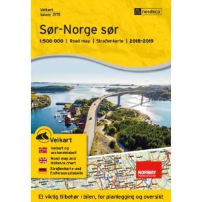 Wegenkaart-Straßenkart-Roadmap-Veikart Sør-Norge sør 1:500.000 2018-2019