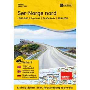 Wegenkaart-Straßenkart-Roadmap-Veikart Sør-Norge nord 1:500.000 2018-2019