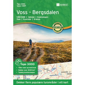 Wandelkaart Topo 3000 Voss - Bergsdalen 1:50.000 (2017)