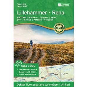 Wandelkaart Topo 3000 Lillehammer - Rena 1:50.000 (2017)