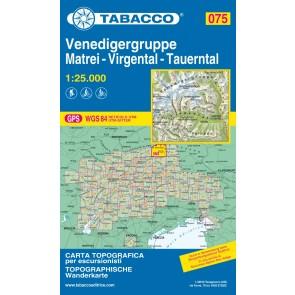 Wandel- fietskaart Venedigergruppe Matrei Virgental Tauerntal  Blad 075 / 1:25.000 (GPS)